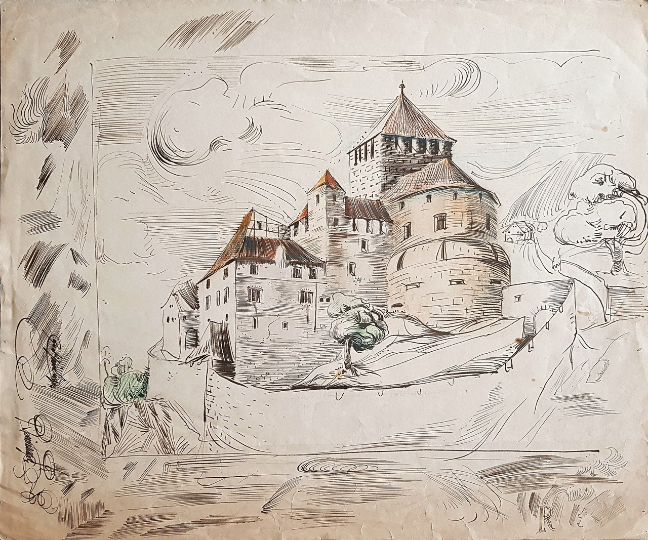 Entwurfszeichnung Egon Rheinberger