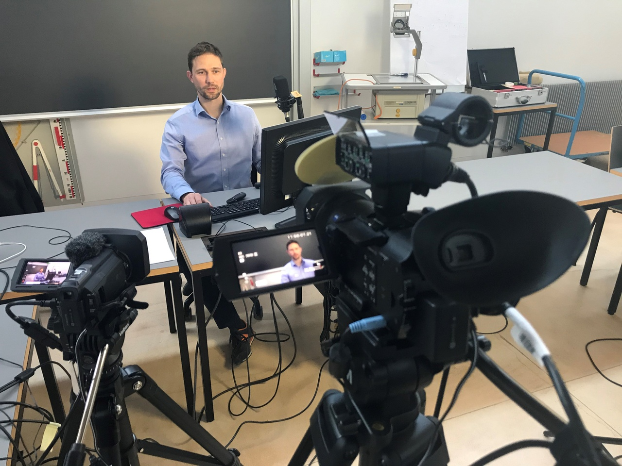 Das Studio am Campus der Universität Liechtenstein zur Produktion von Vorlesungen.