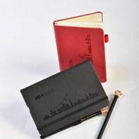 Notizbuch schwarz, mit Liechtenstein Skyline