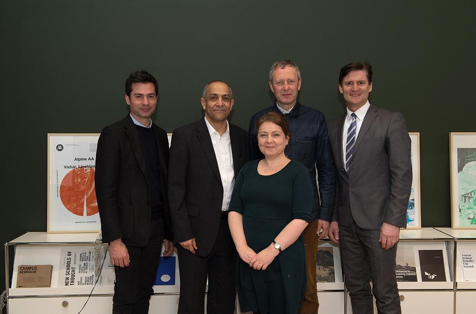 (from left) Prof. Peter Staub, Prof. Karim Hadjri (University of Sheffield on behalf of the RIBA), Stephanie Beasley-Suffolk (RIBA), Prof. Paul Jones (Northumbria University on behalf of the RIBA), Rector Jürgen Brücker